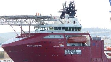 Australia's Southern Ocean patrol vessel, Ocean Protector, docked in Hobart.