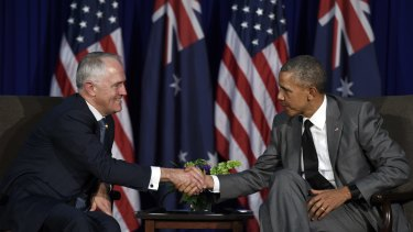 US President Barack Obama with Australia's Prime Minister Malcolm Turnbull during their meeting in Manila, at the APEC summit in November.