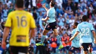 Richard Garcia celebrates scoring the opener for Sydney FC.