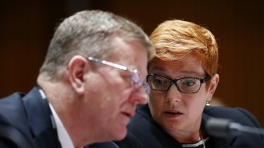 Department of Defence associate secretary Brendan Sargeant and Defence Minister Marise Payne.