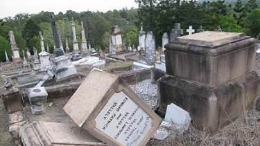 Trail of destruction ... Toowong Cemetery in August 2009.