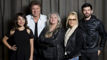 Australia's jury for its inaugural Eurovision Song Contest is, from left, music presenter Ash London, journalist Richard Wilkins,  music producer Amanda Pelman (who is also the chairperson of the jury), singer/songwriter Danielle Spencer, musician and host Jake Stone.