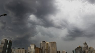 Storm clouds gather above the Sydney CBD.