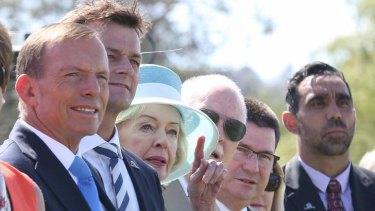 Debate: Tony Abbott, Quentin Bryce and Adam Goodes, far right, in Canberra on Sunday.