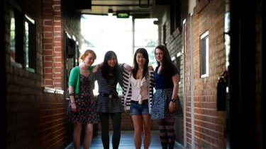 Mac. Robertson Girls' High School students Madeline Barrow , Nupur Goyal , Christina Fa and Vivien Dunn (left to right) topped the VCE results .