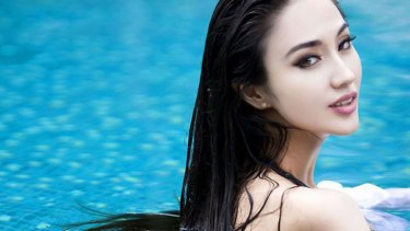 Chinese actress Lan Yan in a bikini photoshoot featured on news website, xinhuanet.com.