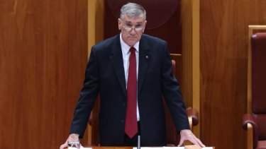 Senator John Hogg outgoing President of the Senate on Wednesday. Photo: Andrew Meares