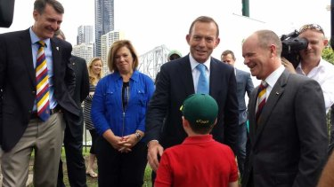 Prime Minister Tony Abbott with Lord Mayor Graham Quirk and Premier Campbell Newman  in Brisbane.