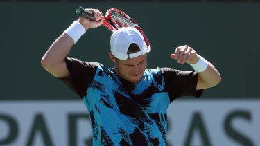 Lleyton Hewitt reacts after losing a point to Kevin Anderson at Indian Wells.