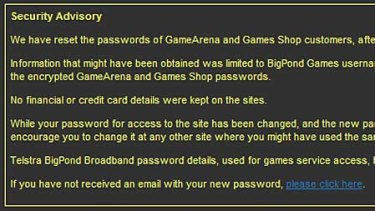 How Telstra is alerting customers to the breach on its gamearena.com.au website.