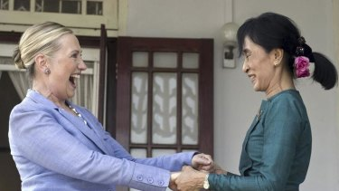 US Secretary of State Hillary Clinton with Burmese democracy leader Aung San Suu Kyi. The Burmese government has loosened its strictures, but is still to outline real benefits for the impoverished people.