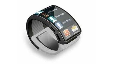 An artist's concept of the Samsung Galaxy Gear smart watch.