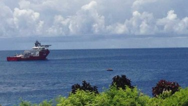 Off to the whaling conflict? ACV Ocean Protector off Christmas Island.