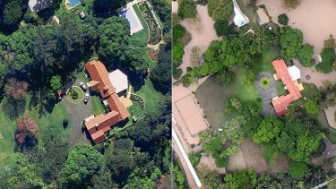 One of last year's most expensive properties, 12 Aminga Street, Fig Tree Pocket, before and after the January flood.