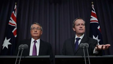 The federal government's superannuation plan is more far reaching than that forecast by Treasurer Wayne Swan (left) and the Minister for Financial Services and Superannuation, Bill Shorten.