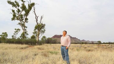 Hopes dashed … Malcolm Connelly and the Namatjira ghost gums, now burnt, which were thought to be dying until recent rains and conservation efforts halted their decline.