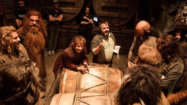 Director Peter Jackson and Martin Freeman, as Bilbo Baggins, on the set of <i>The Hobbit</i> movies.