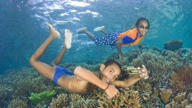 Tropical delight ... children enjoy the beauty of the reef in front of their village on Raja Ampat.