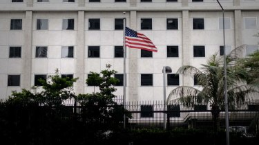 The US flag flutters in front of the US consulate in Hong Kong.