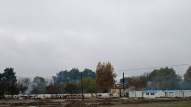 The refugee camp in Serres, a big town in northern Greece.