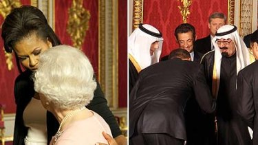 Michelle Obama holds the Queen and Brack Obama bows to Saudi King  King Abdullah bin Abdul Aziz Al Saud.