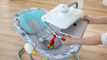 An iPad can be inserted into the Newborn-to-Toddler Apptivity Seat.