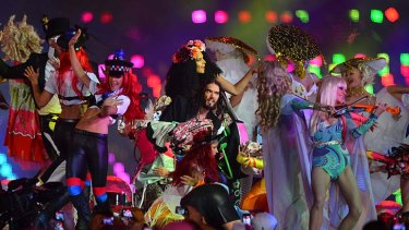 It's all over now … comedian Russell Brand performs at the closing ceremony.