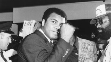 The champ is here: Muhammad Ali arrives in Sydney in 1979.