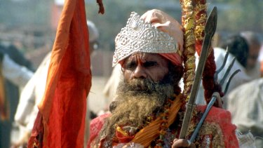 A Hindu saint from the western Indian state of Rajasthan at a temple campaign organised by members of Hindu fundamentalist organisation Vishwa Hindu Parishad,  in support of construction of the proposed Ram Temple at the disputed site in Ayodhya.