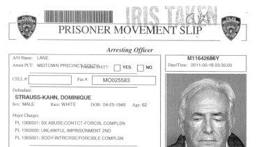 In the system ... prison paperwork on Mr Strauss-Kahn.