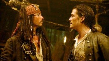 Actors Johnny Depp and Orlando Bloom.