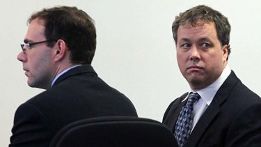 Not guilty of killing his father ... Mark Kerrigan, right.
