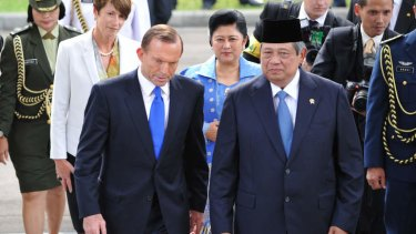 Happier times: Prime Minister Tony Abbott with Indonesia's President Susilo Bambang Yudhoyono during a visit to Jakarta in September. Mr Abbott has delivered a stern message to the president over Australia's asylum boat policy.