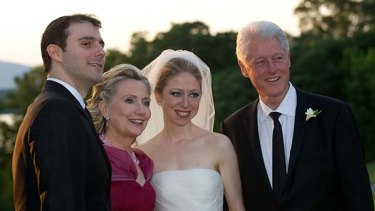 Former US president Bill Clinton and wife US Secretary of State Hillary Clinton with their daughter Chelsea Clinton and Marc Mezvinsky.