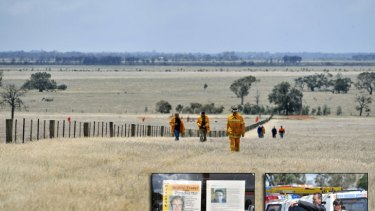 Police and volunteers search for Krystal Fraser near Pyramid Hill in October 2009.