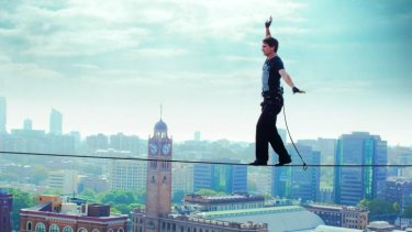 Danger zone: Todd Sampson crosses a high-wire in Sydney's CBD for <i>Redesign My Brain.</i>