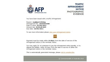 An email scam that appears to be an AFP traffic infringement notice.