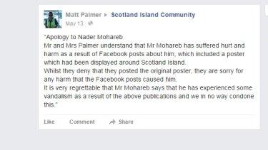 A screenshot of Matt Palmer's apology on the Scotland Island Community Facebook page.