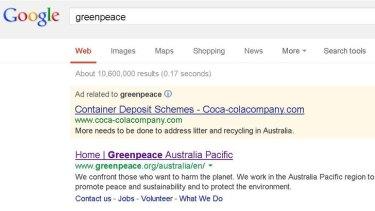 Coca-Cola, Greenpeace go toe to toe on Google.