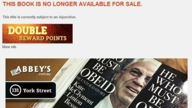 A screenshot of the Abbey's Bookstore website after He Who Must Be Obeid was removed from sale.