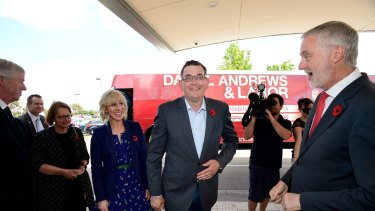 Victorian Opposition Leader Daniel Andrews with his wife Cath on the campaign trail.