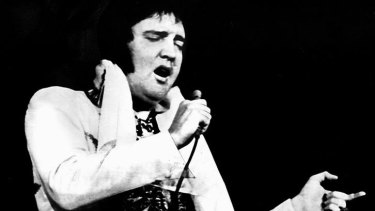Off to the throne: The last words of the king of rock'n'roll, pictured in his last television performance in 1977, have been revealed.