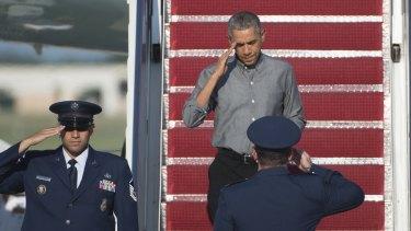 US President Barack Obama at Andrews Air Force Base on Saturday.