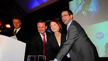 David Bartlett, Julia Gillard and Stephen Conroy launch the NBN in Tasmania.