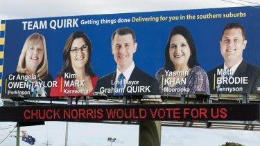 "A ""Team Quirk"" billboard at the corner of Beaudesert and Granard roads in Rocklea."
