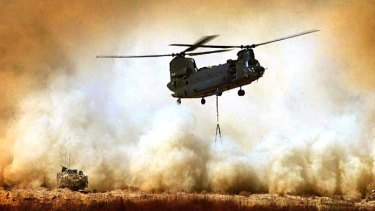 A Chinook helicopter in Afghanistan.