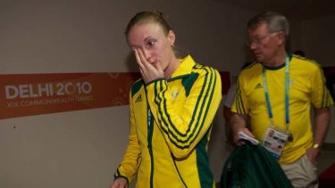 Distraught ... Sally Pearson.