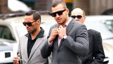 Green light: Blake Ferguson is set to return to the NRL, pictured here attending Waverley Court with Anthony Mundine