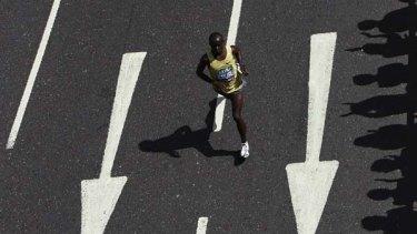 Samuel Wanjiru during the London Marathon in April.
