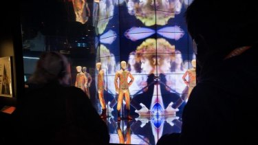 A huge screen dominates the final room in the <i>David Bowie Is</i> exhibition at ACMI.